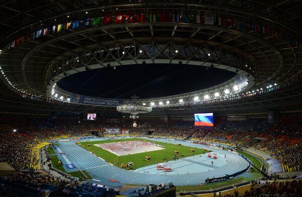 Церемония открытия XIV чемпионата мира по легкой атлетике на стадионе Лужники в Москве