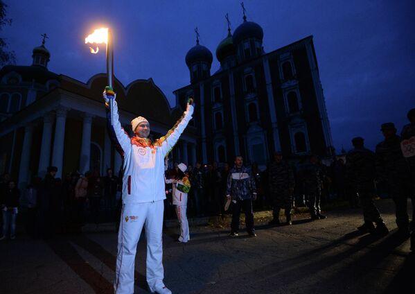 Участник Эстафеты Олимпийского огня в Рязани