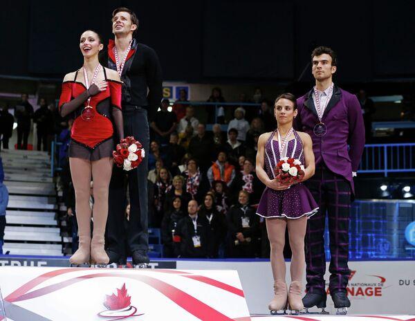 Стефания Бертон и Ондрей Хотарек и Меган Дюамель/Эрика Рэдфорда (слева направо)