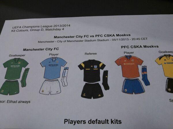 Игровые формы Манчестер Сити и ЦСКА