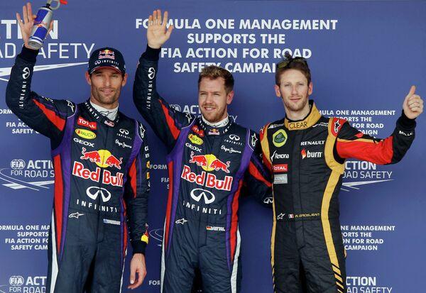 Марк Уэббер, Себастьян Феттель и Роман Грожан после квалификации Гран-при США