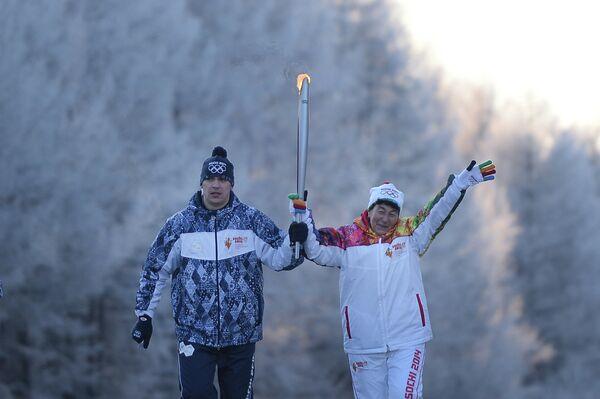 Эстафета олимпийского огня в Чите