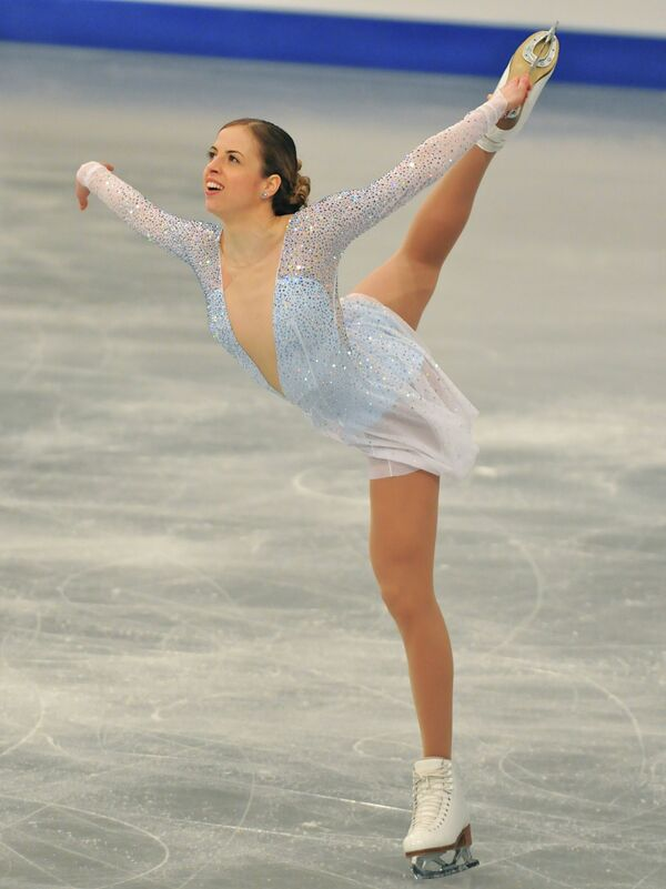 Итальянская фигуристка Каролина Костнер исполняет короткую программу на чемпионате Европы в Будапеште