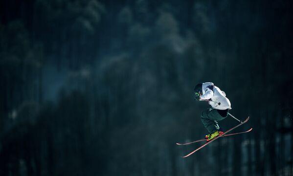 Спортсмен на тренировке национальных сборных по фристайлу в дисциплине слоупстайл перед началом XXII зимних Олимпийских игр в Сочи