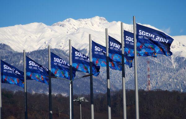 Флаги в олимпийском парке в Сочи