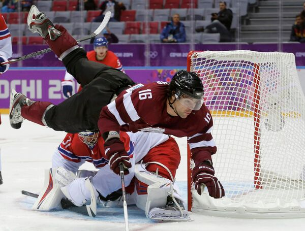Игровой момент матча Чехия-Латвия