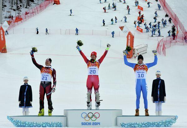 Ивица Костелич (Хорватия) - серебряная медаль, Сандро Вилетта (Швейцария) - золотая медаль, Кристоф Иннерхофер (Италия) - бронзовая медаль