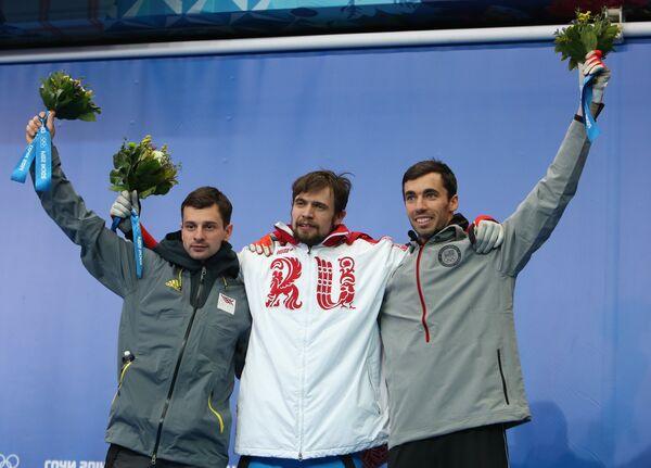 Мартиньш Дукурс (Латвия) - серебряная медаль, Александр Третьяков (Россия) - золотая медаль, Мэттью Энтуан (США) - бронзовая медаль