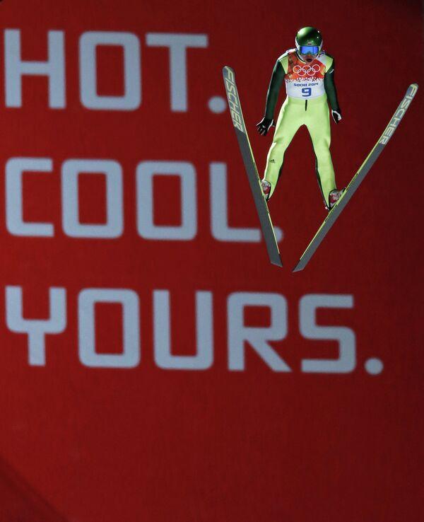 Ильмир Хазетдинов (Россия) в финале индивидуальных соревнований по прыжкам с большого трамплина