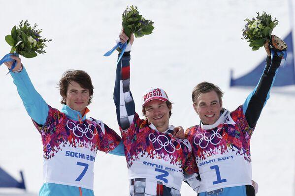 Жан Кошир (Словения) - серебряная медаль, Вик Уайлд (Россия) - золотая медаль, Бенджамин Карл (Австрия) - бронзовая медаль