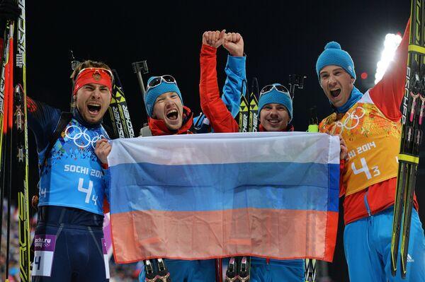 Слева направо: Антон Шипулин, Алексей Волков, Евгений Устюгов, Дмитрий Малышко