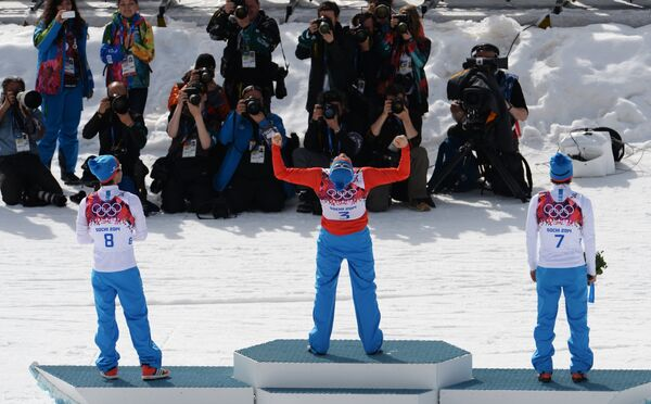 Максим Вылегжанин (Россия) - серебряная медаль, Александр Легков (Россия)