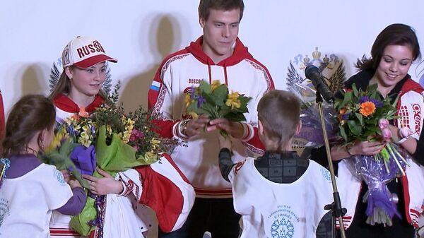 Цветы и овации - как встречали в Москве олимпийскую сборную России