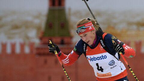 Ольга Зайцева (Россия) на трассе гонки с масс-старта в соревнованиях среди женщин на Гонке чемпионов 2014
