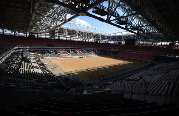 Вид на арену строящегося стадиона Открытие-Арена