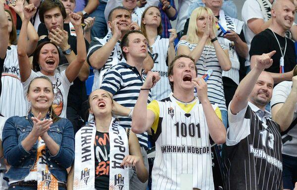 Болельщики баскетбольного клуба Нижний Новгород на матче Лиги ВТБ