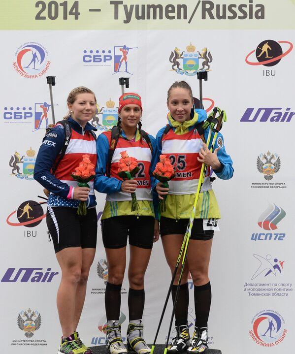 Люси Харватова (Чехия) - серебряная медаль, Кристина Ильченко (Россия) - золотая медаль, Ульяна Кайшева (Россия) - бронзовая медаль.