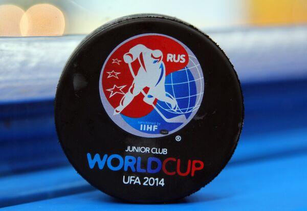 Шайба с символикой Кубка мира по хоккею среди молодежных команд в Уфе.