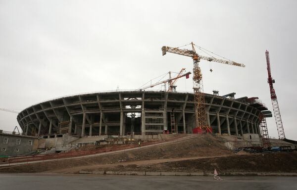 Строительство стадиона Зенит-Арена на Крестовском острове в Санкт-Петербурге