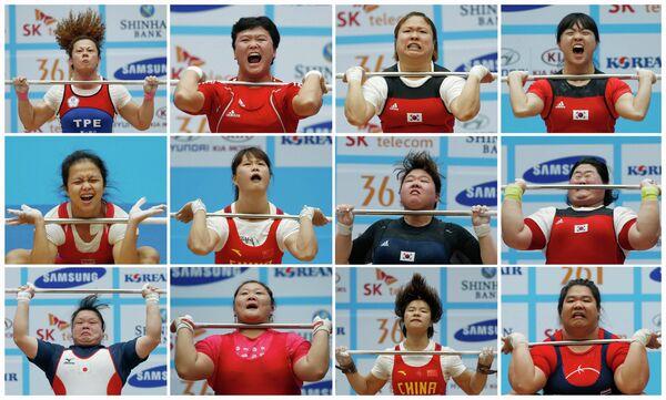 Комбинационная фотография эмоций участниц 17-х Азиатских игр в турнире по тяжелой атлетике