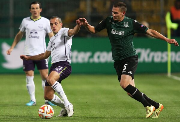 Игровой момент матча Краснодар - Эвертон