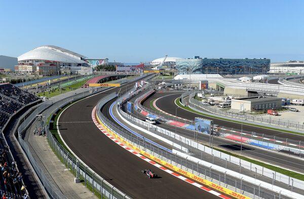 Автоспорт. Формула-1. Гран-при России. Вид трассы Сочи Автодрома