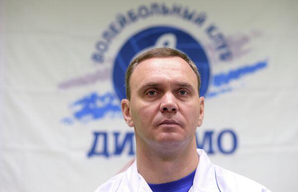 Главный тренер Андрей Подкопаев на пресс-конференции, посвященной представлению ЖВК Динамо (Москва)