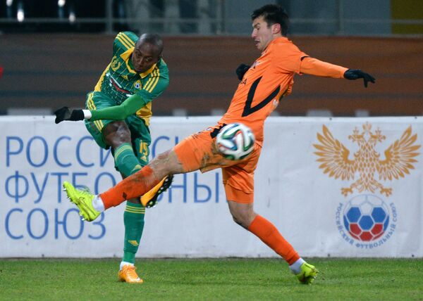 Игровой момент матча Урал - Кубань