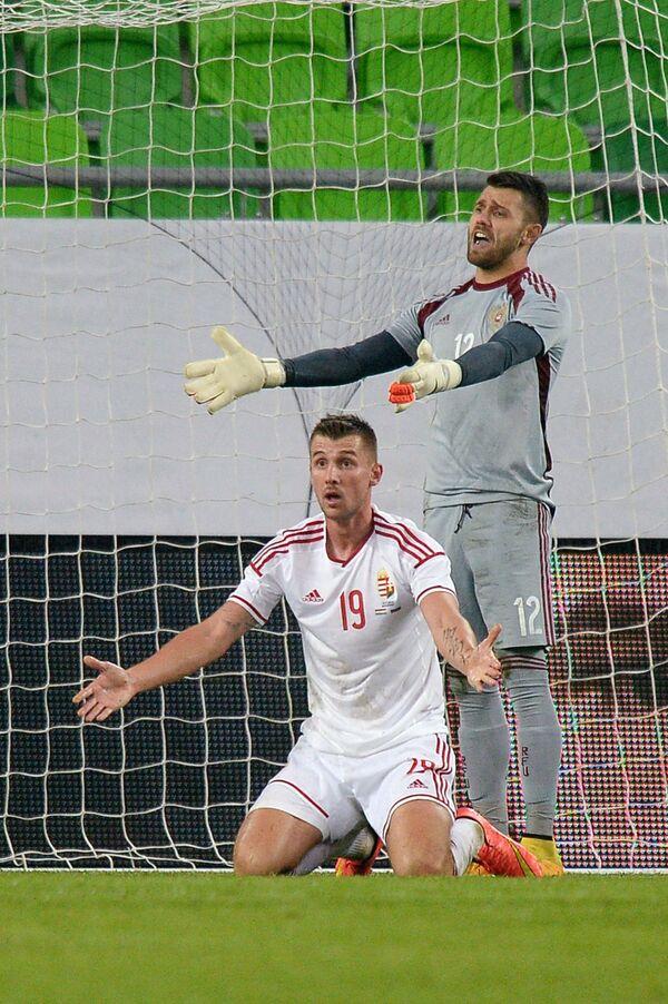 Нападающий сборной Венгрии Тамаш Пришкин (слева) и вратарь сборной России Юрий Лодыгин