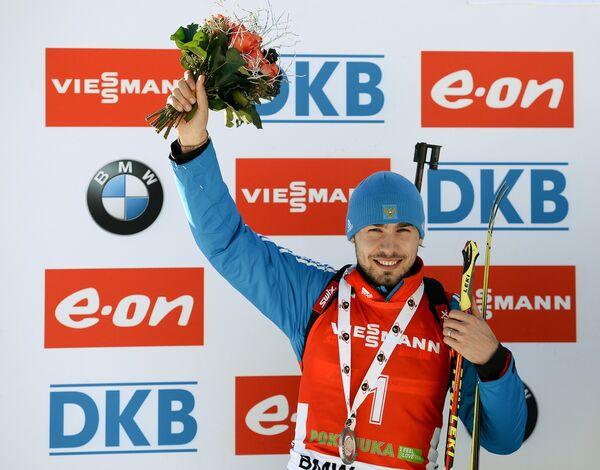 Антон Шипулин (Россия), занявший 2-е место в гонке преследования среди мужчин на третьем этапе Кубка мира по биатлону