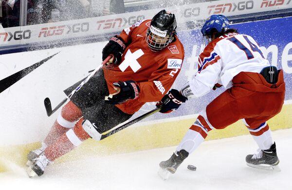 Игровой момент матча Чехия - Швейцария