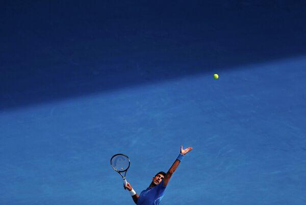Новак Джокович в матче первого круга Australian Open