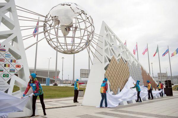 Открытие скульптурной композиции Стена чемпионов Игр