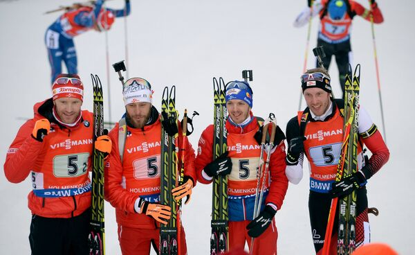 Симон Эдер, Даниэль Мезотич, Свен Гроссеггер и Доминик Ландертингер (Австрия) (слева направо)