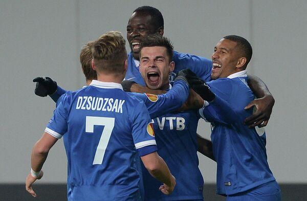 Игроки ФК Динамо Балаж Джуджак, Кристофер Самба, Артур Юсупов и Вильям Ванкёр (слева направо)