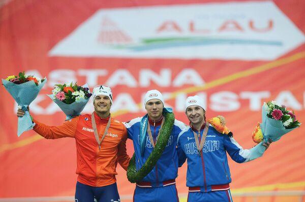 Хейн Оттерспер (Нидерланды) – серебряная медаль, Павел Кулижников (Россия) – золотая медаль, Алексей Есин (Россия) – бронзовая медаль