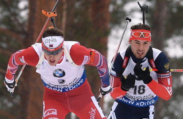 Тарьей Бё (Норвегия), Антон Шипулин (Россия) (слева направо)