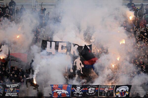 Болельщики ЦСКА в матче 21-го тура чемпионата России по футболу