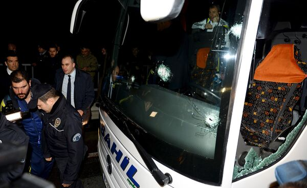 Обстрелянный автобус с футболистами Фенербахче