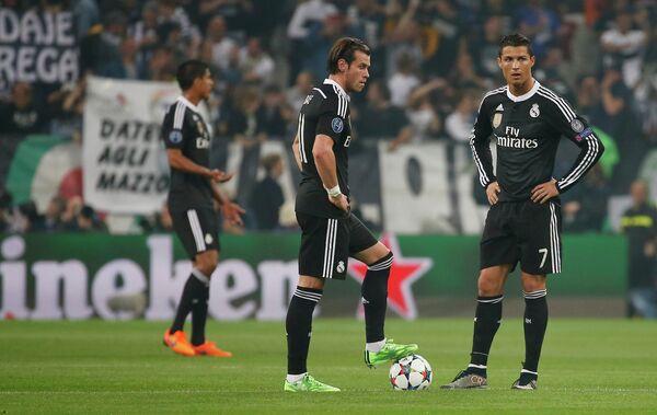 Полузащитник мадридского Реала Гарет Бейл и нападающий мадридского Реала Криштиану Роналду (слева направо).