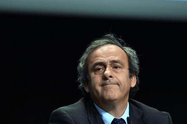 Президент УЕФА Мишель Платини на пресс-конференции в рамках Конгресса ФИФА в Цюрихе
