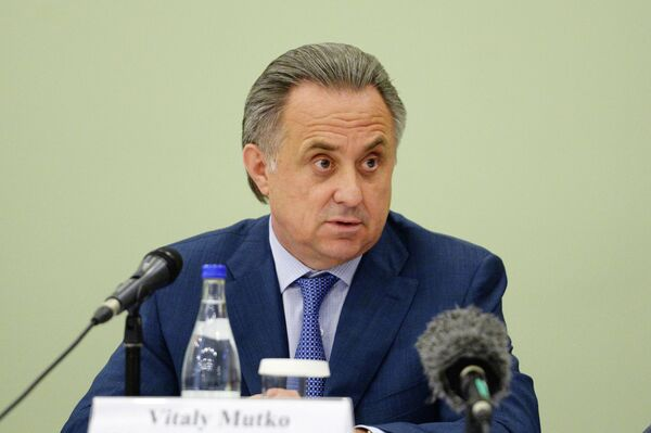 Министр спорта РФ Виталий Мутко на пресс-брифинге