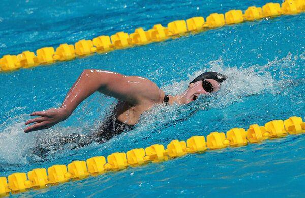 Кэти Ледеки (США) на дистанции 1500 м вольным стилем