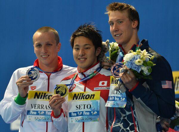 Давид Веррасто (Венгрия), Дайя Сэто (Япония), Чейз Калиш (США) (слева направо)