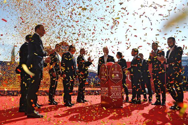 Торжественная церемония запуска часов обратного отсчета на Манежной площади Москвы во время мероприятий в рамках празднования 1000 дней до ЧМ-2018 в России