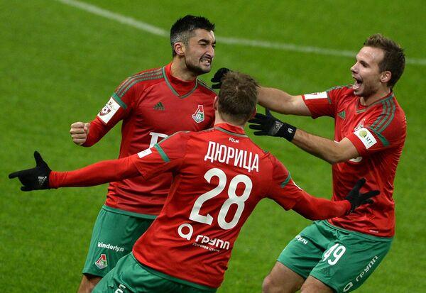 Игроки Локомотива Александр Самедов, Ян Дюрица и Роман Шишкин (слева направо)