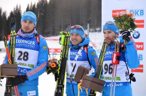 Антон Шипулин (6-е место), Евгений Гараничев (3-е место), Алексей Слепов (4-е место) (слева направо)