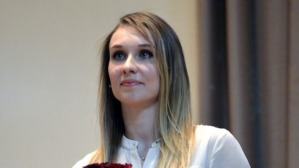 Синхронистка Наталья Ищенко на торжественной церемонии вручения премии Серебряная лань