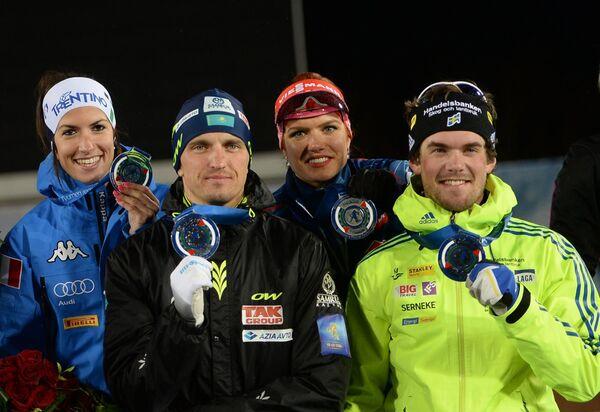 Слева направо: лыжники Илария Дебертолис (Италия), Алексей Полторанин (Казахстан) и биатлонисты Габриэла Соукалова (Чехия), Фредрик Линдстрем (Швеция)