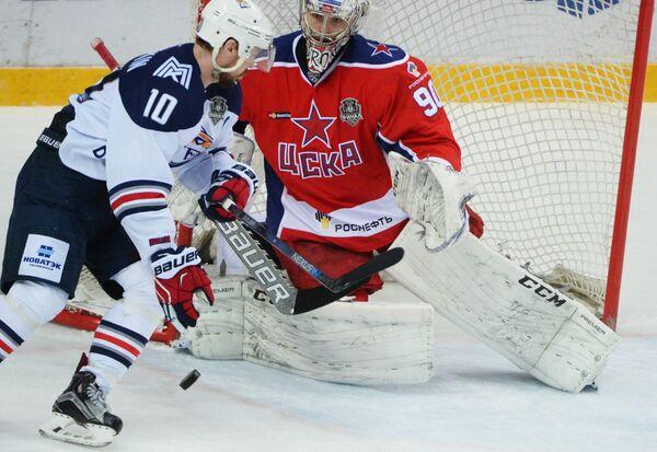 Игровой момент матча ЦСКА - Металлург (Магнитогорск)